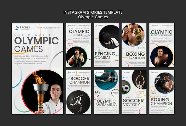Histórias de mídia social de competições esportivas internacionais