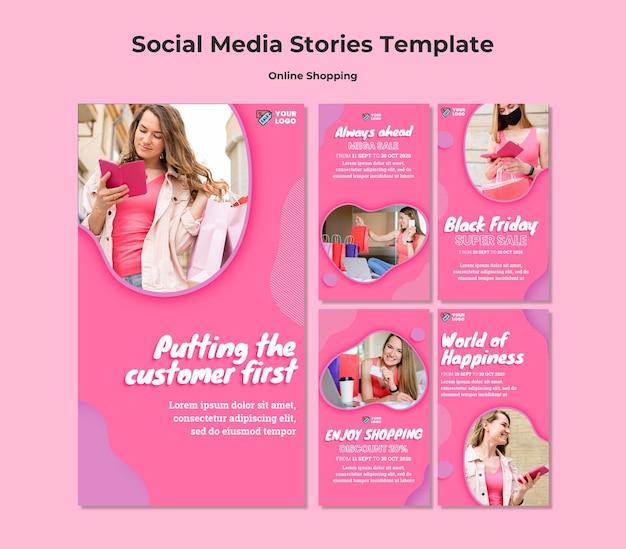 Histórias de mídia social de compras online