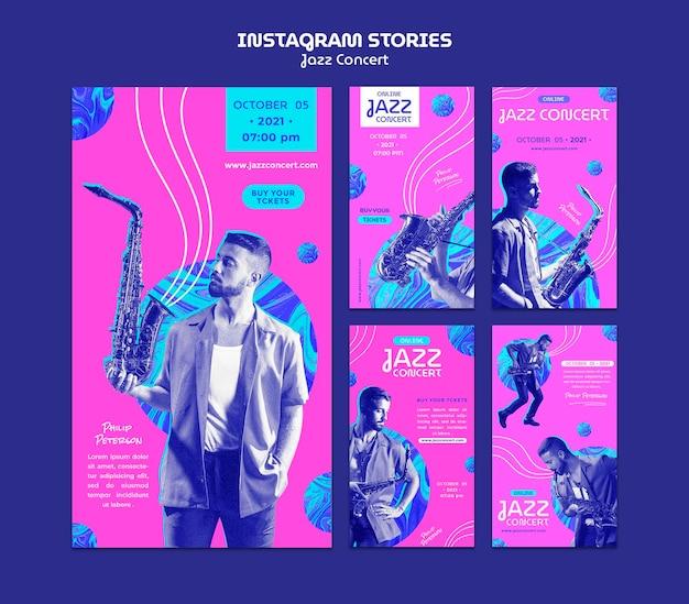 Histórias de mídia social de concertos de jazz