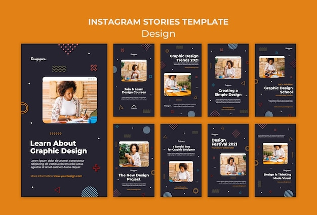 Histórias de mídia social de design gráfico