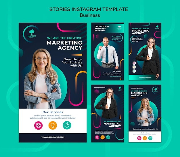 Histórias de mídia social de empresas de negócios
