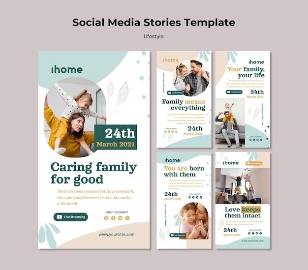 Histórias de mídia social de estilo de vida familiar