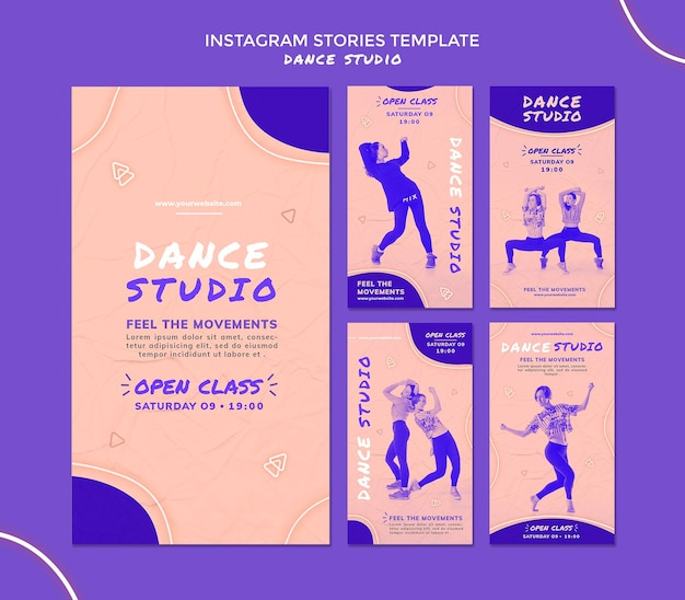 Histórias de mídia social de estúdio de dança