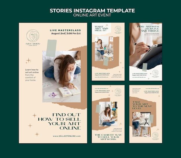 Histórias de mídia social de eventos de arte online