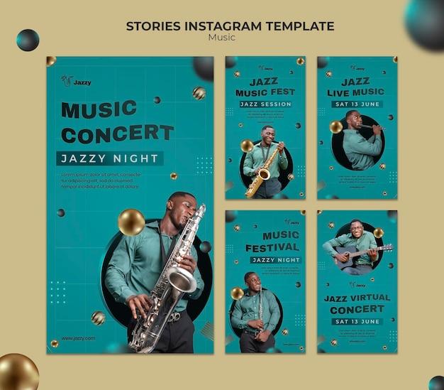 Histórias de mídia social de festivais de jazz