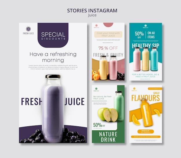 Histórias de mídia social de garrafa de suco