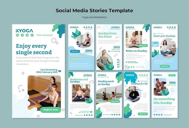 Histórias de mídia social de ioga e meditação