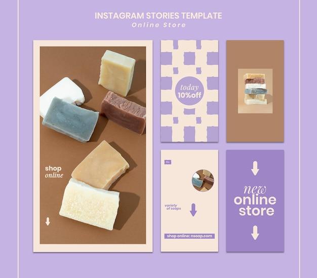 Histórias de mídia social de loja de sabonetes artesanais