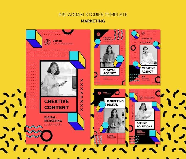 Histórias de mídia social de marketing digital