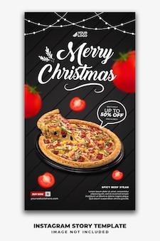 Histórias de mídia social de modelo de natal para pizza no menu fastfood de restaurante