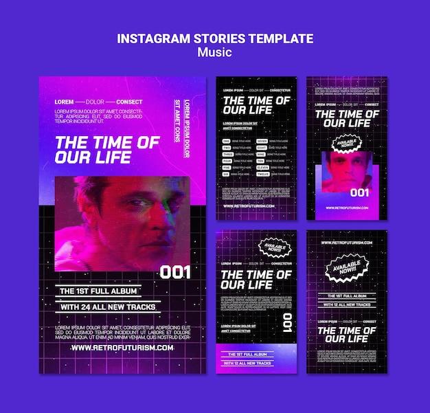 Histórias de mídia social de música futurista