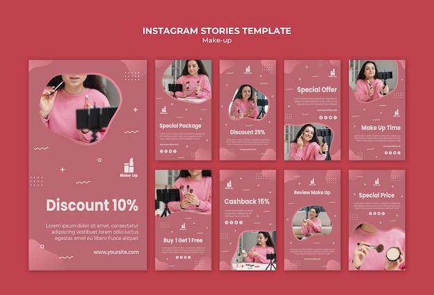 Histórias de mídia social de produtos de maquiagem