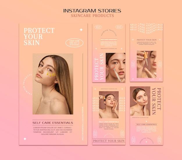 Histórias de mídia social de produtos para a pele