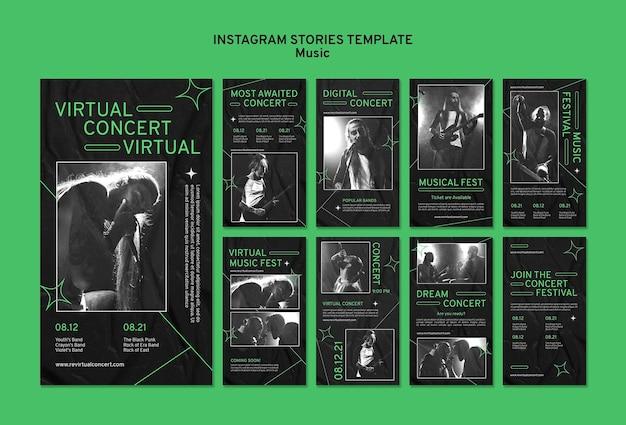 Histórias de mídia social de shows virtuais