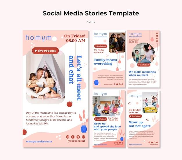 Histórias de mídia social de tempo de qualidade com modelo familiar