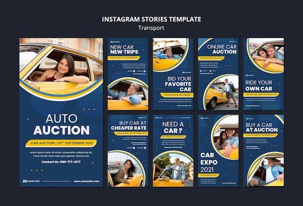 Histórias de mídia social de transporte