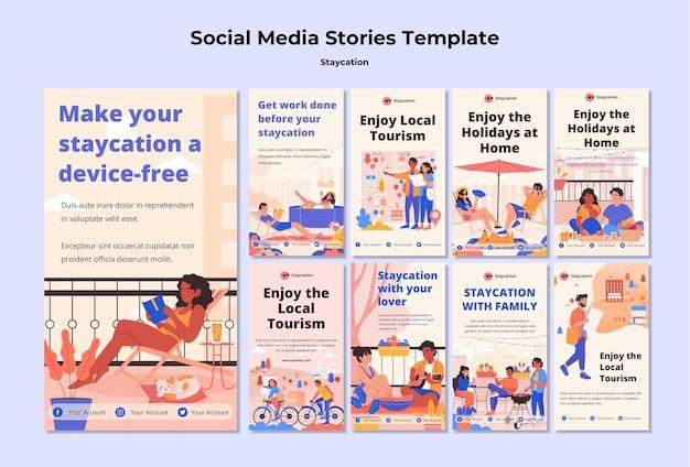 Histórias de mídia social do conceito staycation