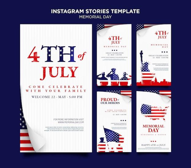 Histórias de mídia social do dia da memória com bandeira