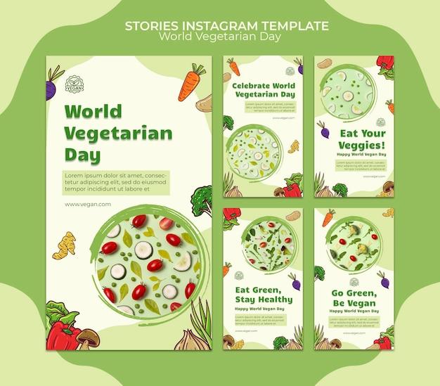 Histórias de mídia social do dia vegetariano mundial
