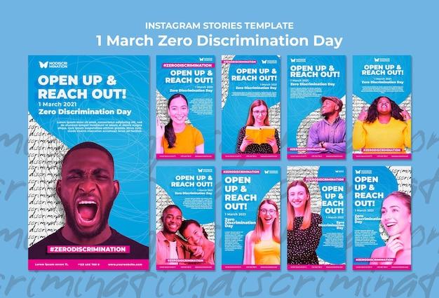 Histórias de mídia social do dia zero discriminação