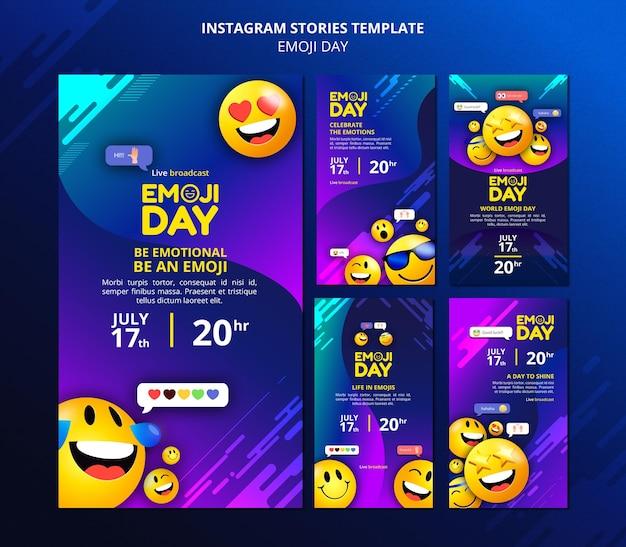 Histórias de mídia social do emoji day