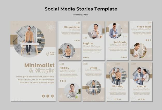 Histórias de mídia social do escritório minimalista