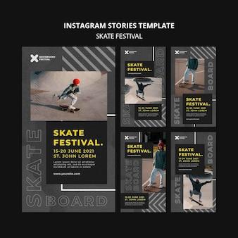 Histórias de mídia social do festival de skate