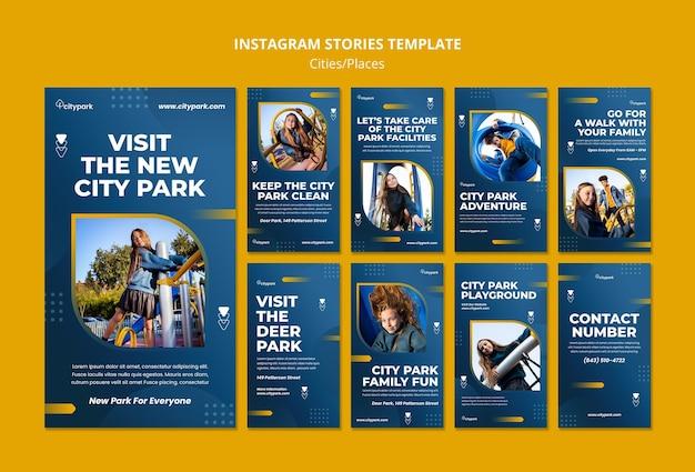 Histórias de mídia social do parque da cidade Psd Premium