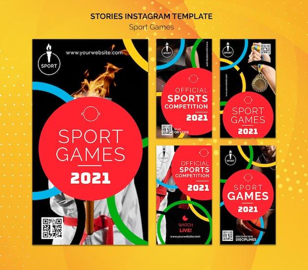 Histórias de mídia social dos jogos olímpicos
