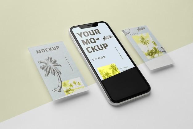 Histórias de mídia social e maquete de smartphone