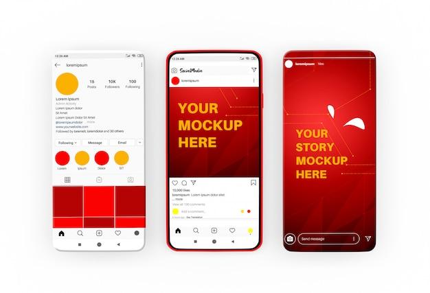 Histórias de mídia social e modelo de postagem na maquete de smartphone