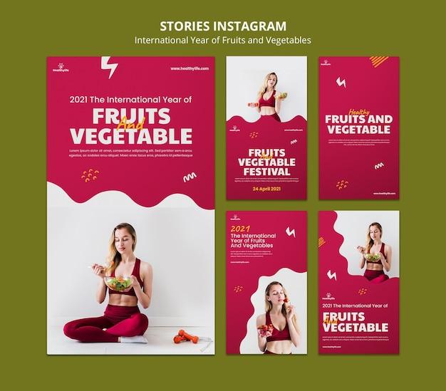 Histórias de mídia social no ano de frutas e vegetais