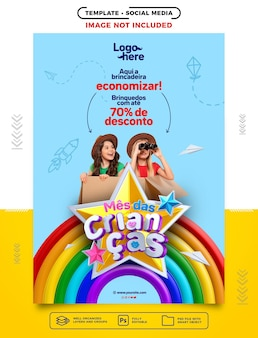 Histórias de mídia social no dia da criança brasileira aqui o jogo é para salvar