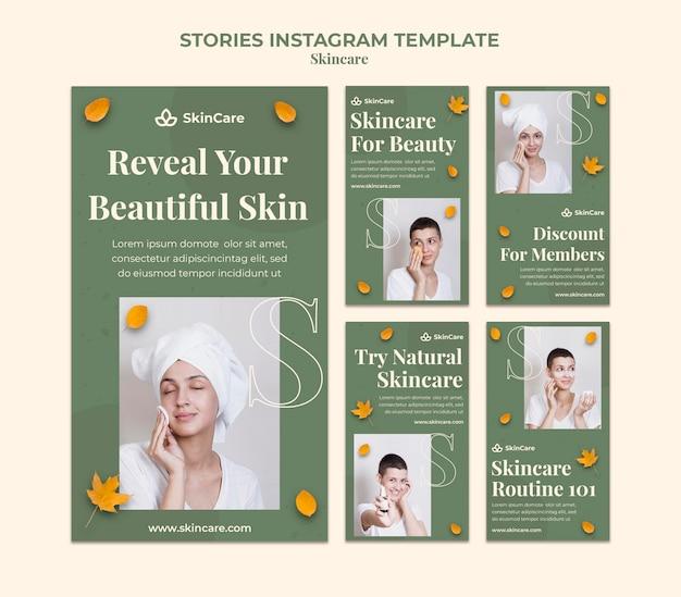 Histórias de mídia social para cuidados com a pele