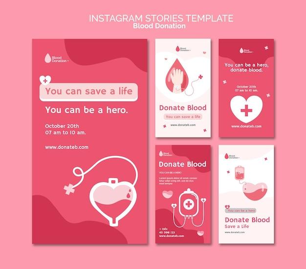 Histórias de mídia social sobre doação de sangue