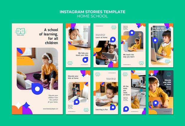 Histórias de mídia social sobre educação em casa