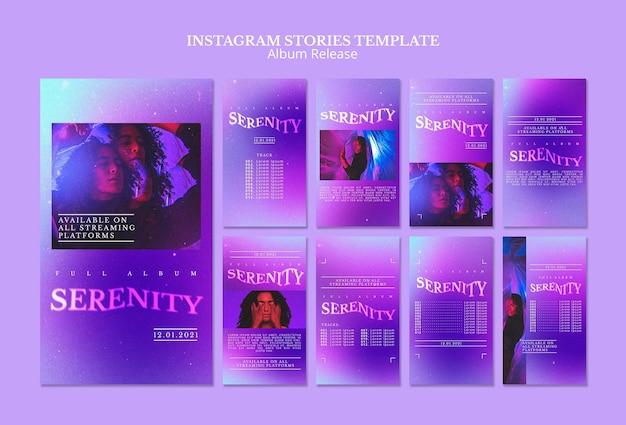 Histórias de mídia social sobre lançamento de álbum