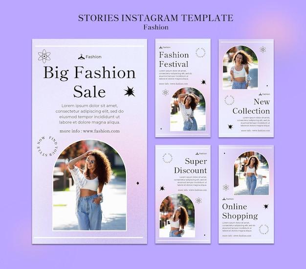 Histórias de moda e estilo no instagram