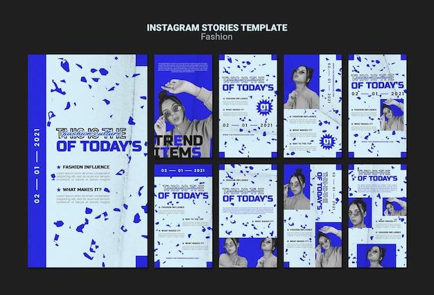 Histórias de moda no instagram social