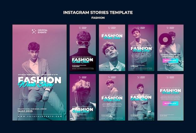 Histórias de moda no instagram