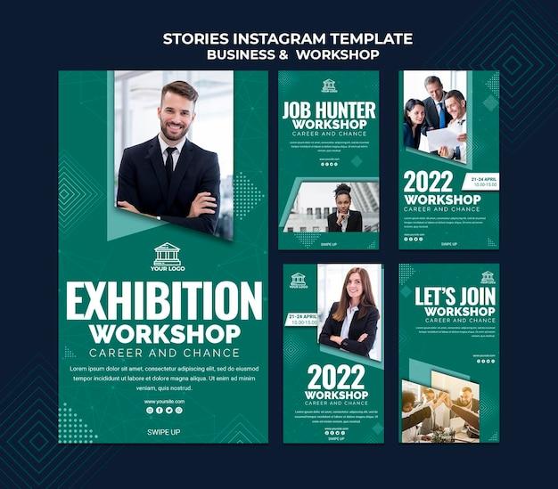 Histórias de negócios e oficinas no instagram
