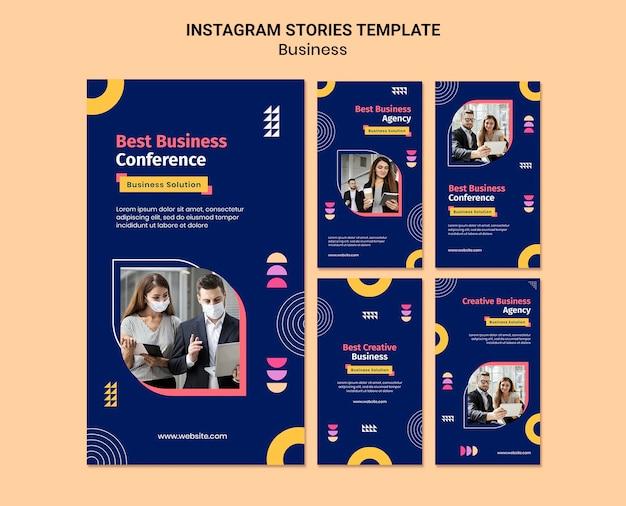 Histórias de negócios no instagram com formas coloridas