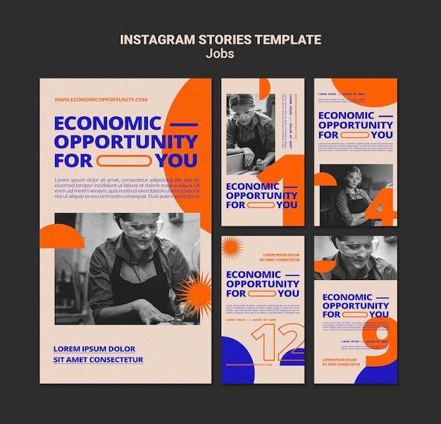 Histórias de oportunidades de emprego nas redes sociais