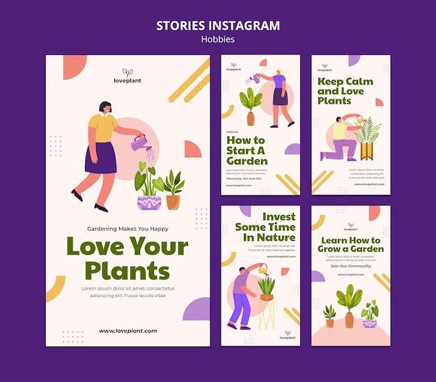Histórias de passatempo de jardinagem no instagram