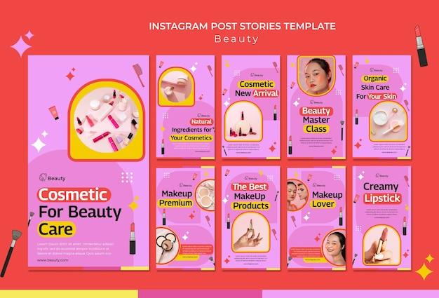 Histórias de produtos de beleza nas redes sociais