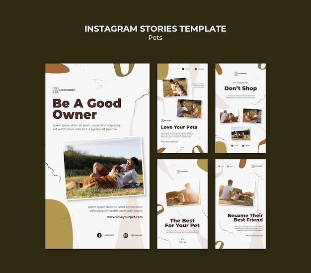 Histórias de redes sociais de animais de estimação e proprietários