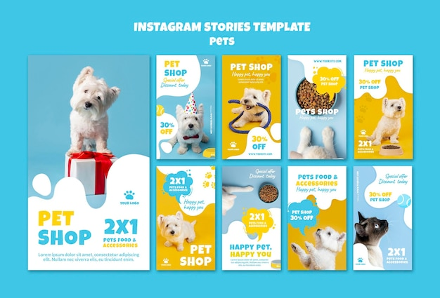 Histórias de redes sociais de lojas de animais de estimação