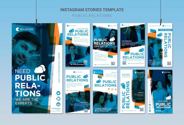 Histórias de relações públicas no instagram