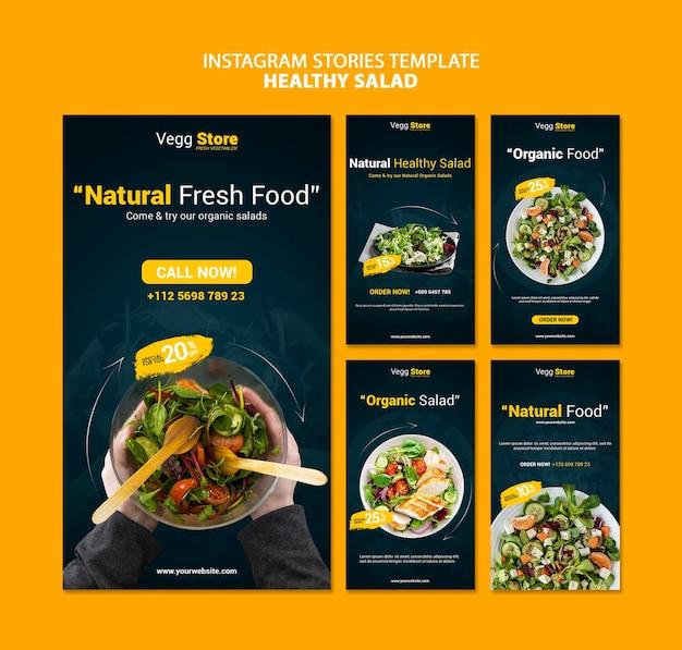 Histórias de saladas saudáveis nas mídias sociais