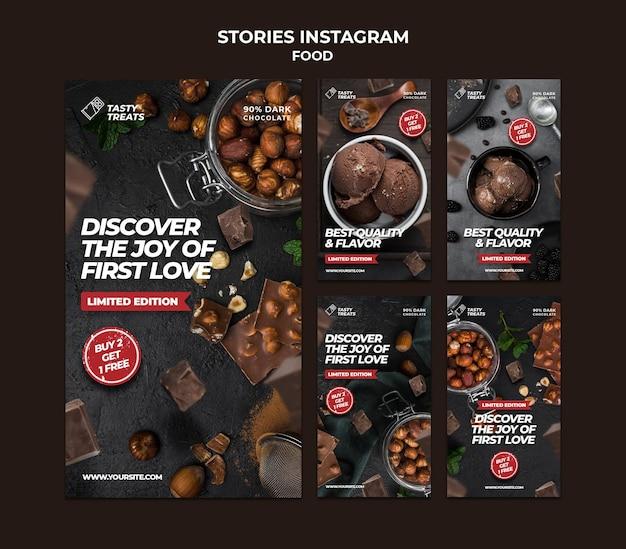 Histórias de sobremesas deliciosas no instagram